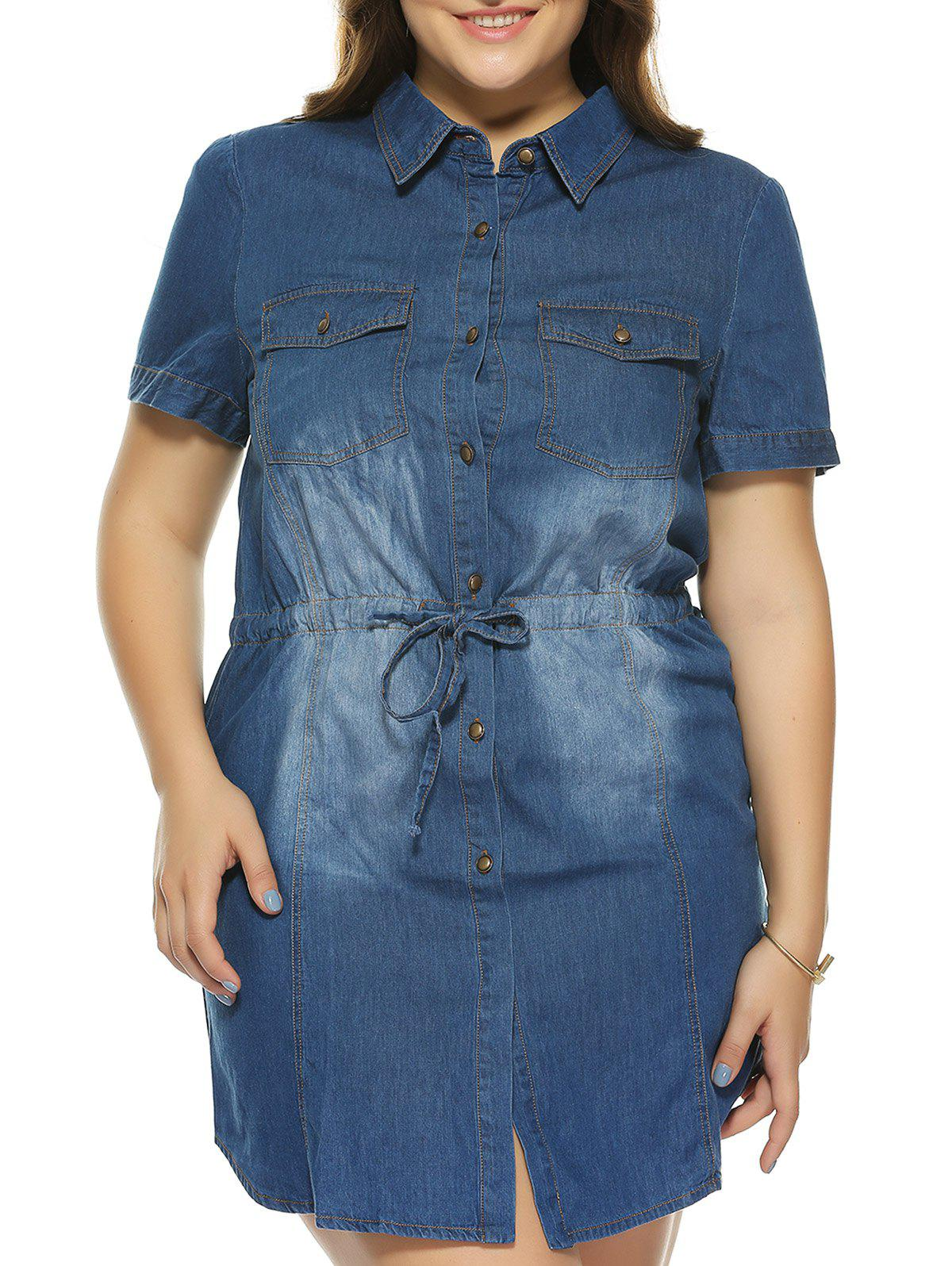 Oversized Elegant Bleach Wash Pocket Slimming Denim Dress - DENIM BLUE 3XL