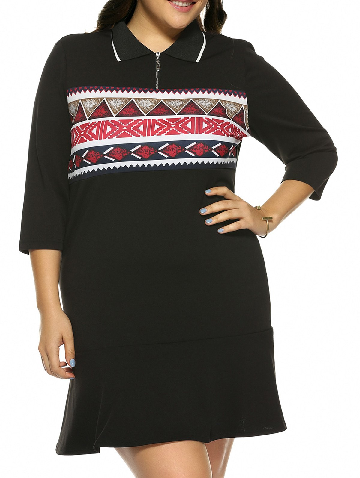 Plus Size Print Mini Fitted Dress - BLACK 5XL