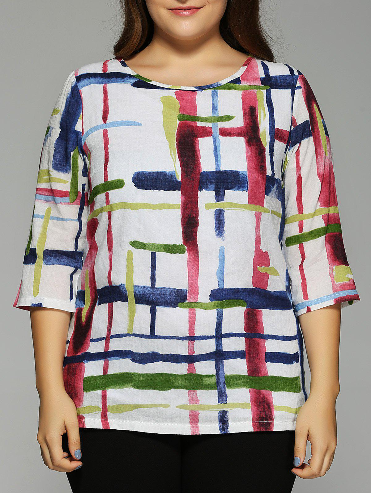 Oversized Fashion Abstract Geometric Painting Blouse - COLORMIX 5XL