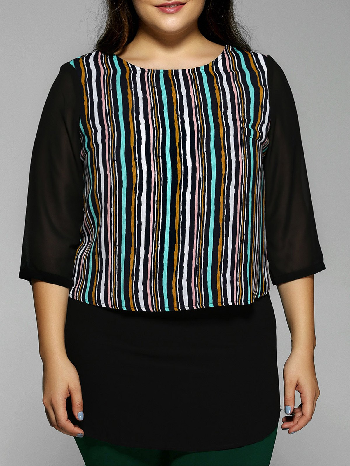 Plus Size Stripe Chiffon Blouse - BLACK 5XL