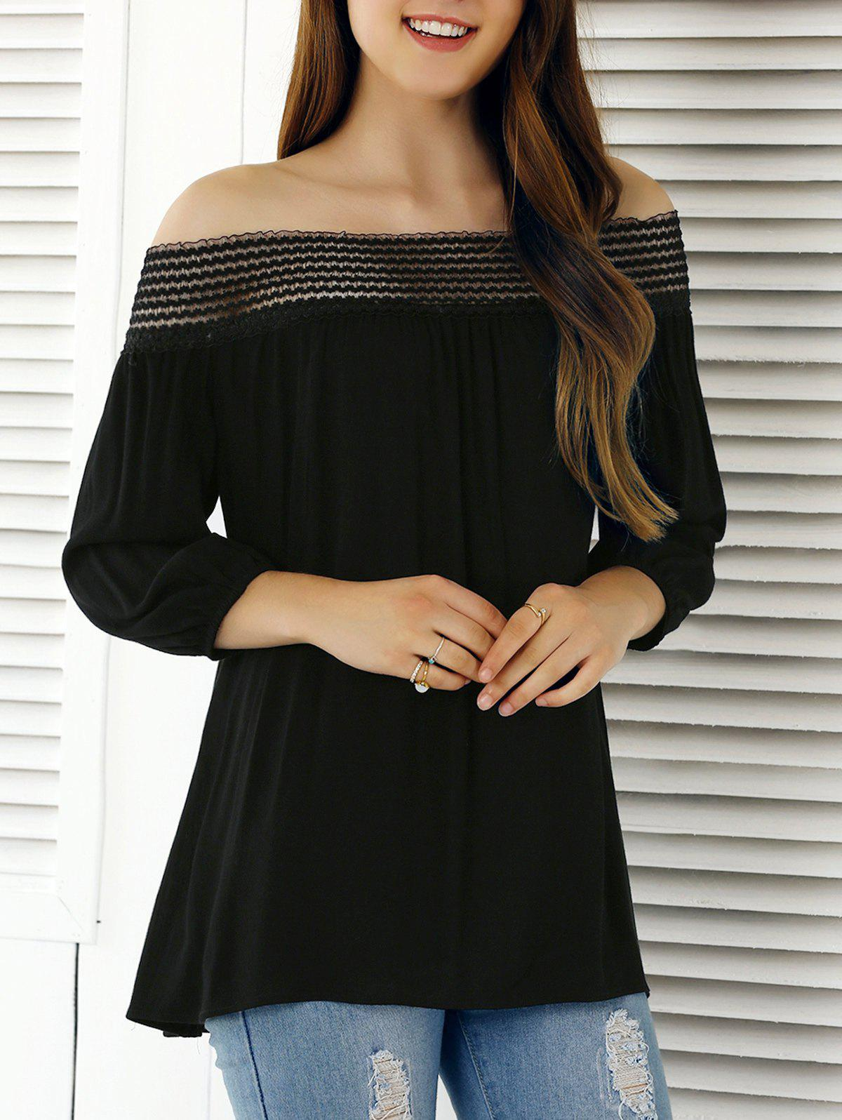 Chic Off The Shoulder 3/4 Sleeve Blouse - BLACK XL