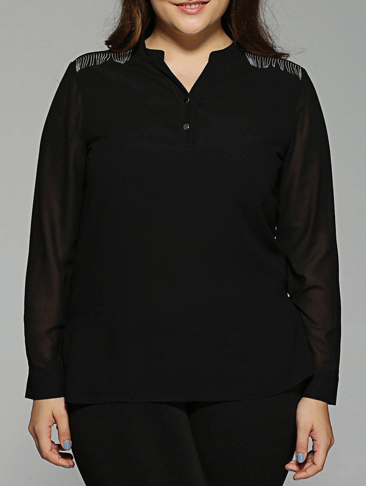 Plus Size See-Through Asymmetric Chiffon Blouse - BLACK 5XL