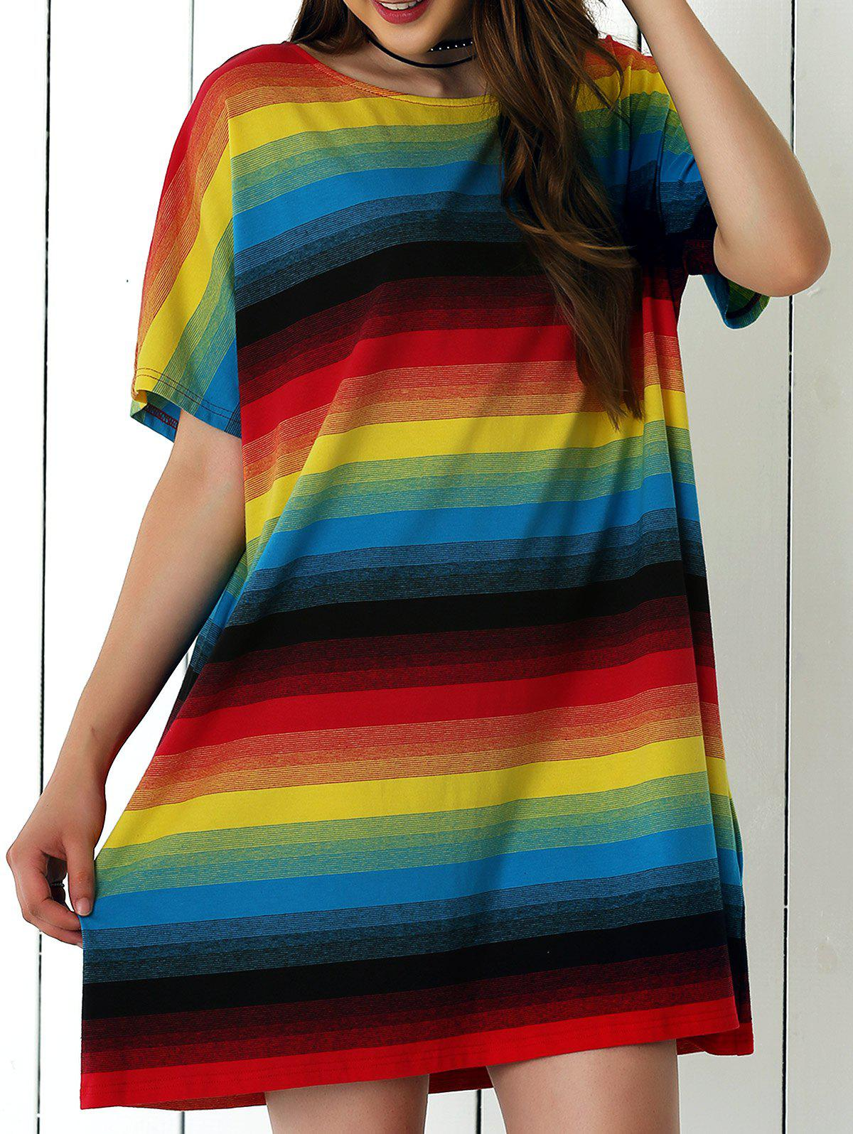 Casual Colorful Striped Shift Dress - COLORMIX XL