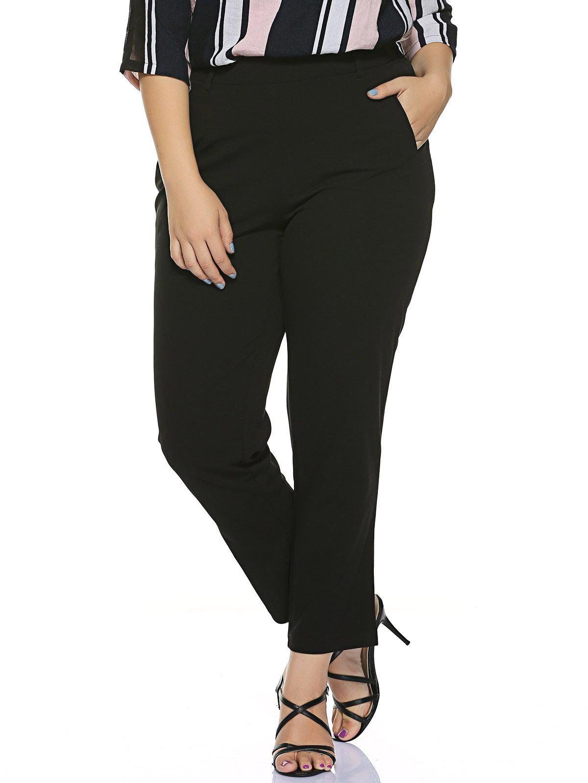 Plus Size Stretched Skinny Fitted Pants - BLACK 5XL