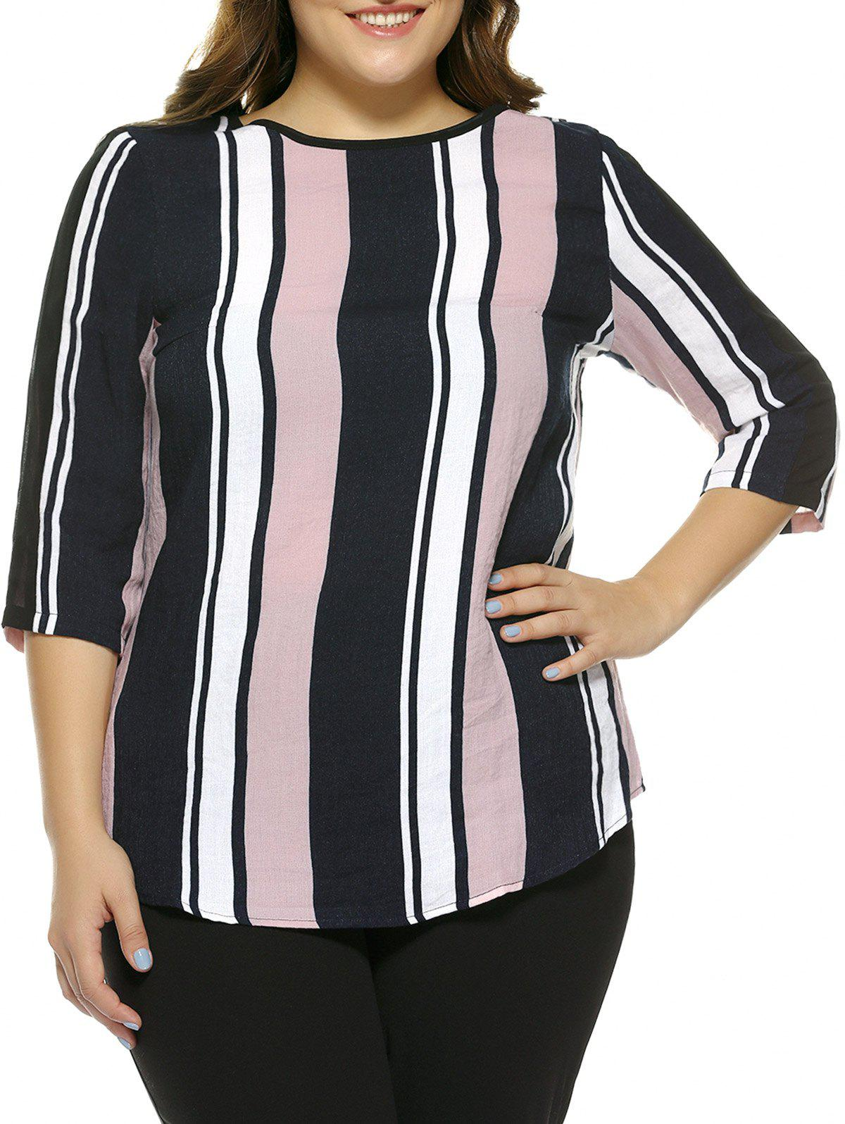 Oversized Charming Color Block Stripe Blouse - STRIPE 5XL