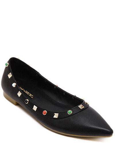 Bead Rivet Pointed Toe Flat Shoes