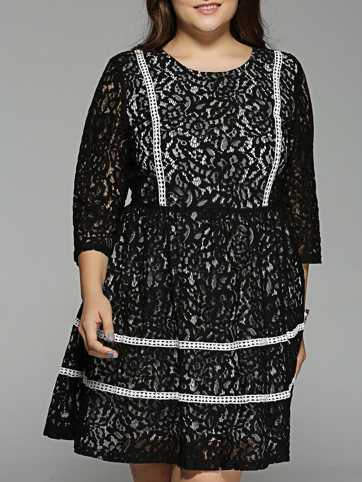 Plus Size Lace Crochet High Waisted Dress - BLACK 5XL