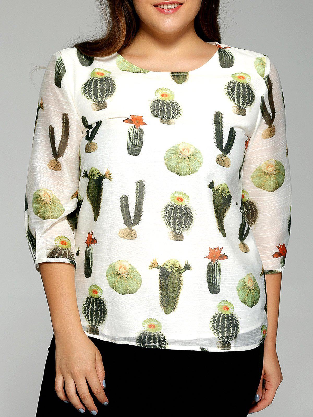 Oversized Fashion Cactus Plant Print Chiffon Blouse - OFF WHITE 5XL