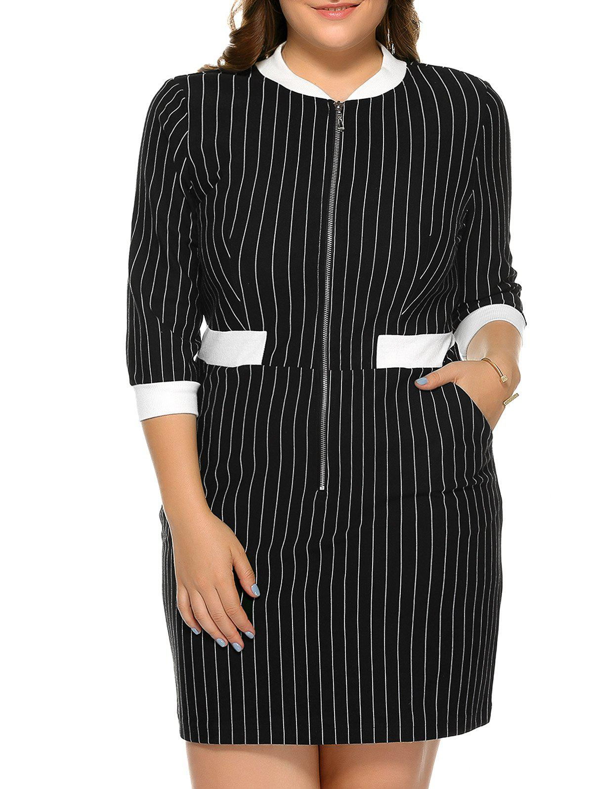 Plus Size Zipper Stripe Dress - STRIPE 5XL