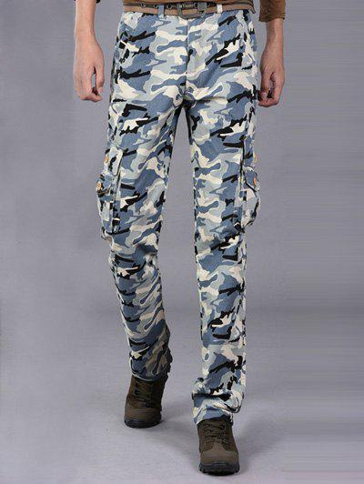 Loose-Fitting Multi-Pocket Straight Leg Camo Cargo Pants - BLUE 38