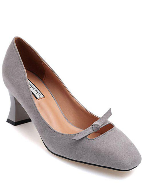 Square Toe Bow Chunky Heel Pumps - GRAY 38