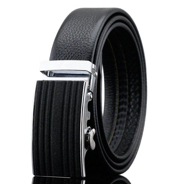 Formal Occasion Stripy Automatic Buckle Waist Belt - BLACK