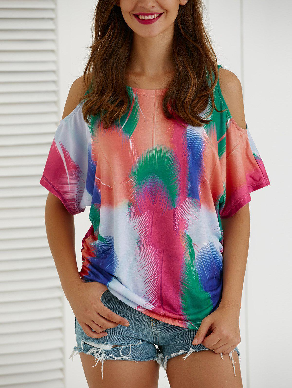 Tie-Dye Short Sleeve Hollow Out T-Shirt - COLORMIX XL