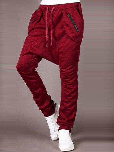 Drop Crotch Drawstring Zippered Narrow Feet Baggy Pants - WINE RED 2XL
