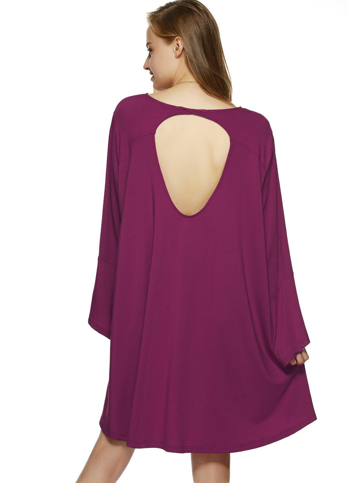 Bell Sleeve Open Back Smock Dress - WINE RED XL