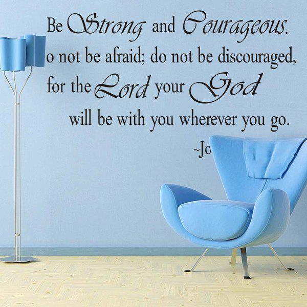 English Encouragement Quote Removable Room Wall Sticker - BLACK
