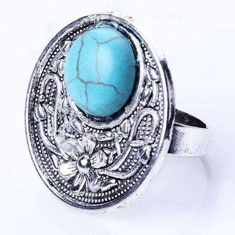 Retro Style Artificial Turquoise Round Medallion Ring - SILVER