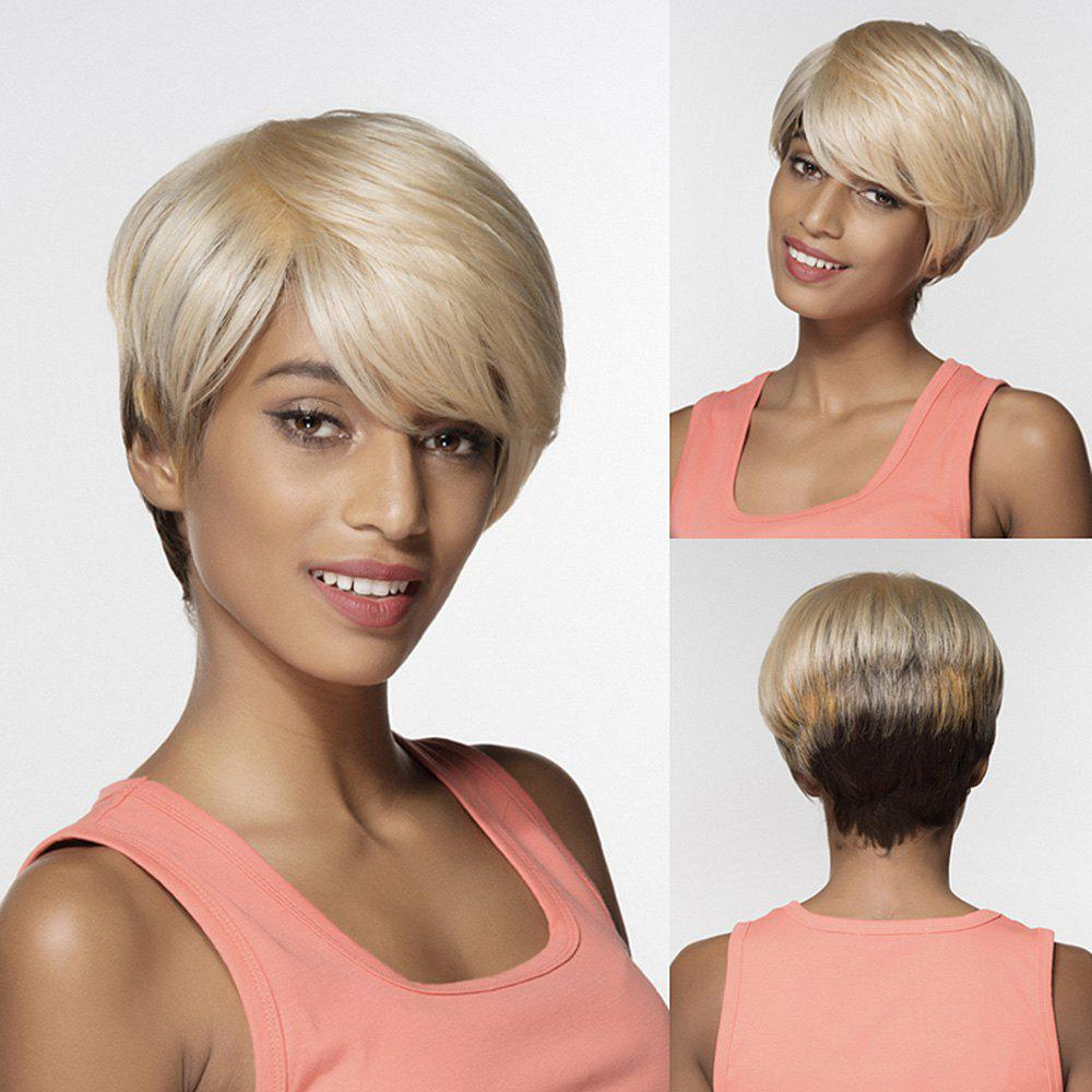 Short Side Bang Multicolor Capless Straight Human Hair Wig - COLORMIX