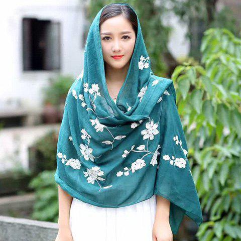 Nepal Sunscreen Flower Embroidery Shawl Scarf - GREEN