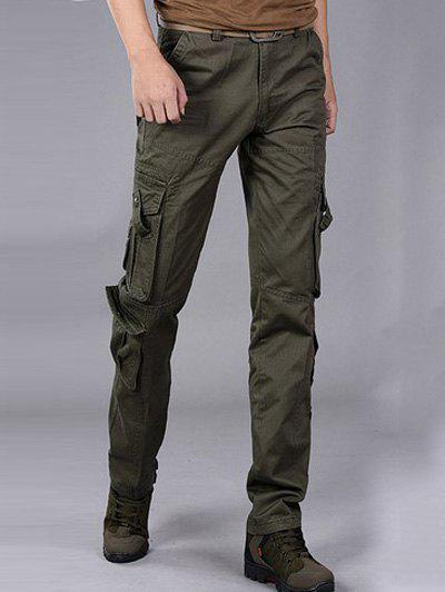 Loose-Fitting Multi-Pocket Straight Leg Cargo Pants - ARMY GREEN 38