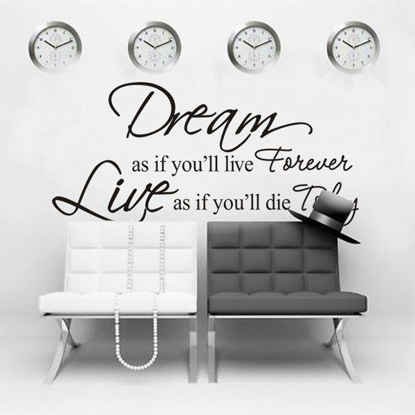 English Dream Life Quote Removable Room Wall Sticker - BLACK
