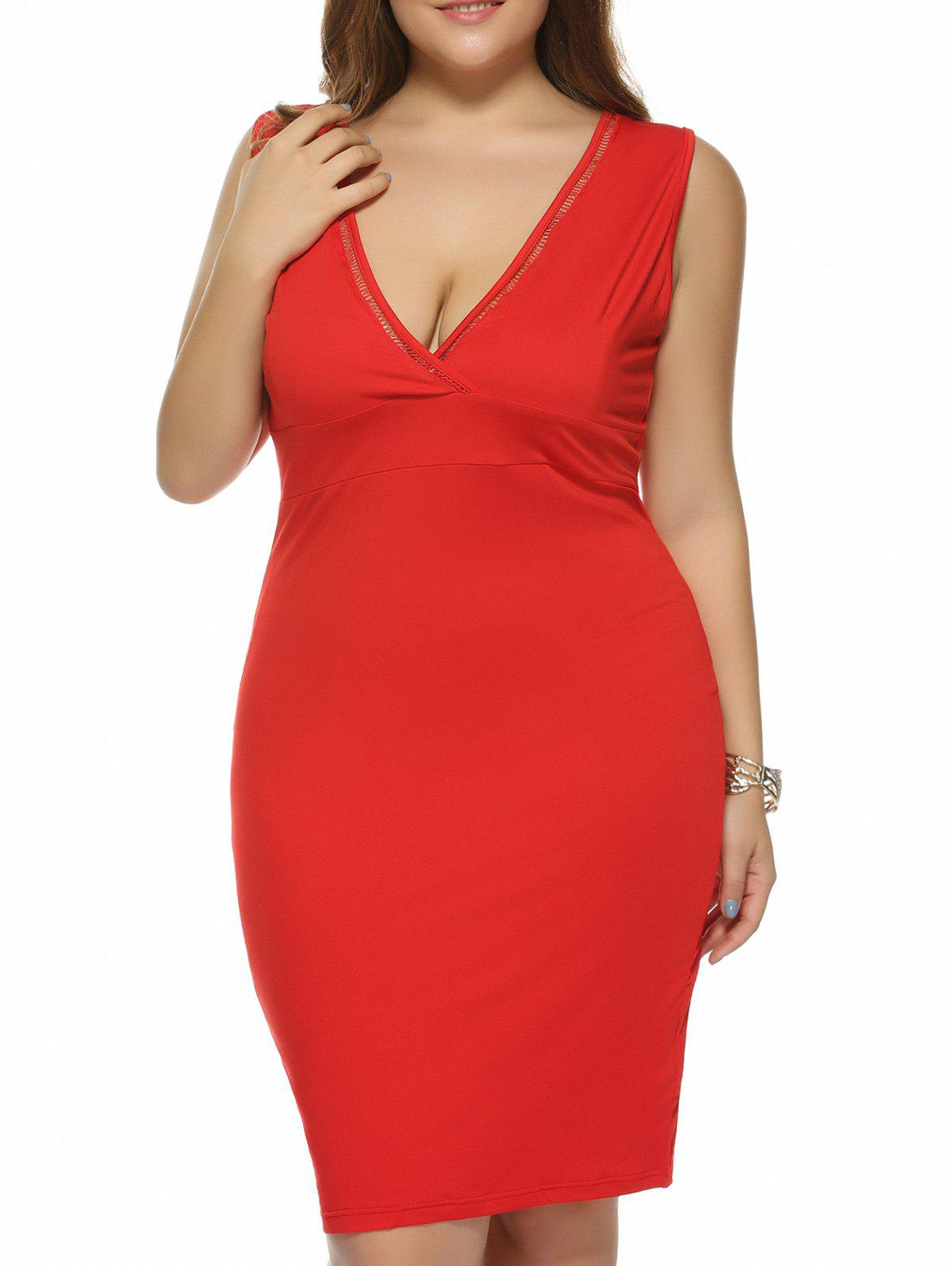 Plus Size Plunging Neck Back Furcal Dress - RED 3XL