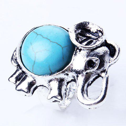 Retro Artificial Turquoise Cut Out Elephant Ring - SILVER
