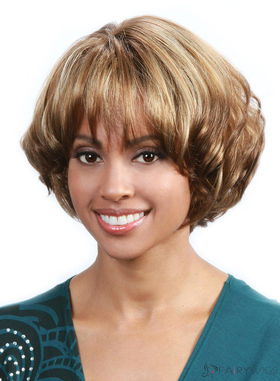 Fluffy Wavy Full Bang Fashion Blonde Mixed Brown Capless Stunning Short Synthetic Women's Wig