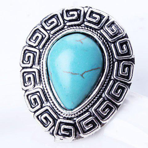 Retro Style Carved Teardrop Artificial Turquoise Ring - SILVER