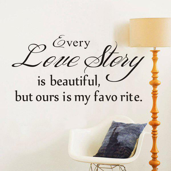 Removable English Every Love Story Maxim Room Wall Sticker - BLACK