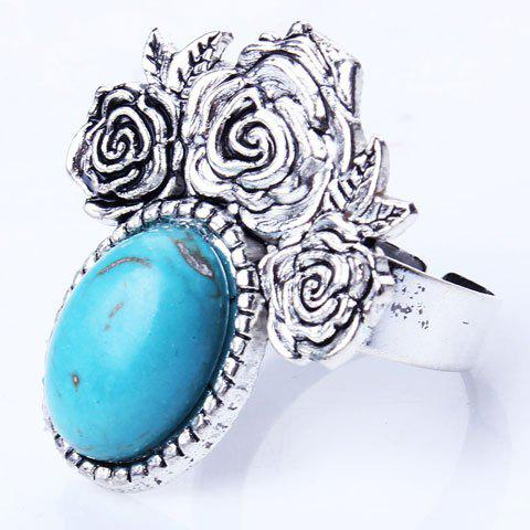 Artificial Oval Turquoise Embossed Rose Charm Ring - SILVER