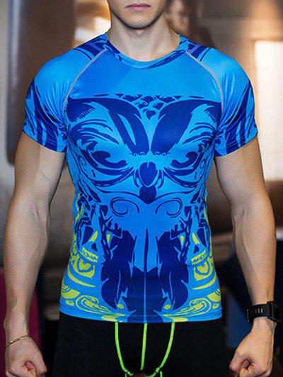 Round Neck Short Raglan Sleeve Print T-Shirt - BLUE XL