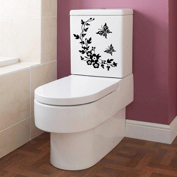 Toilet Closestool Butterfly and Flower Rattan Pattern Wall Sticker - BLACK
