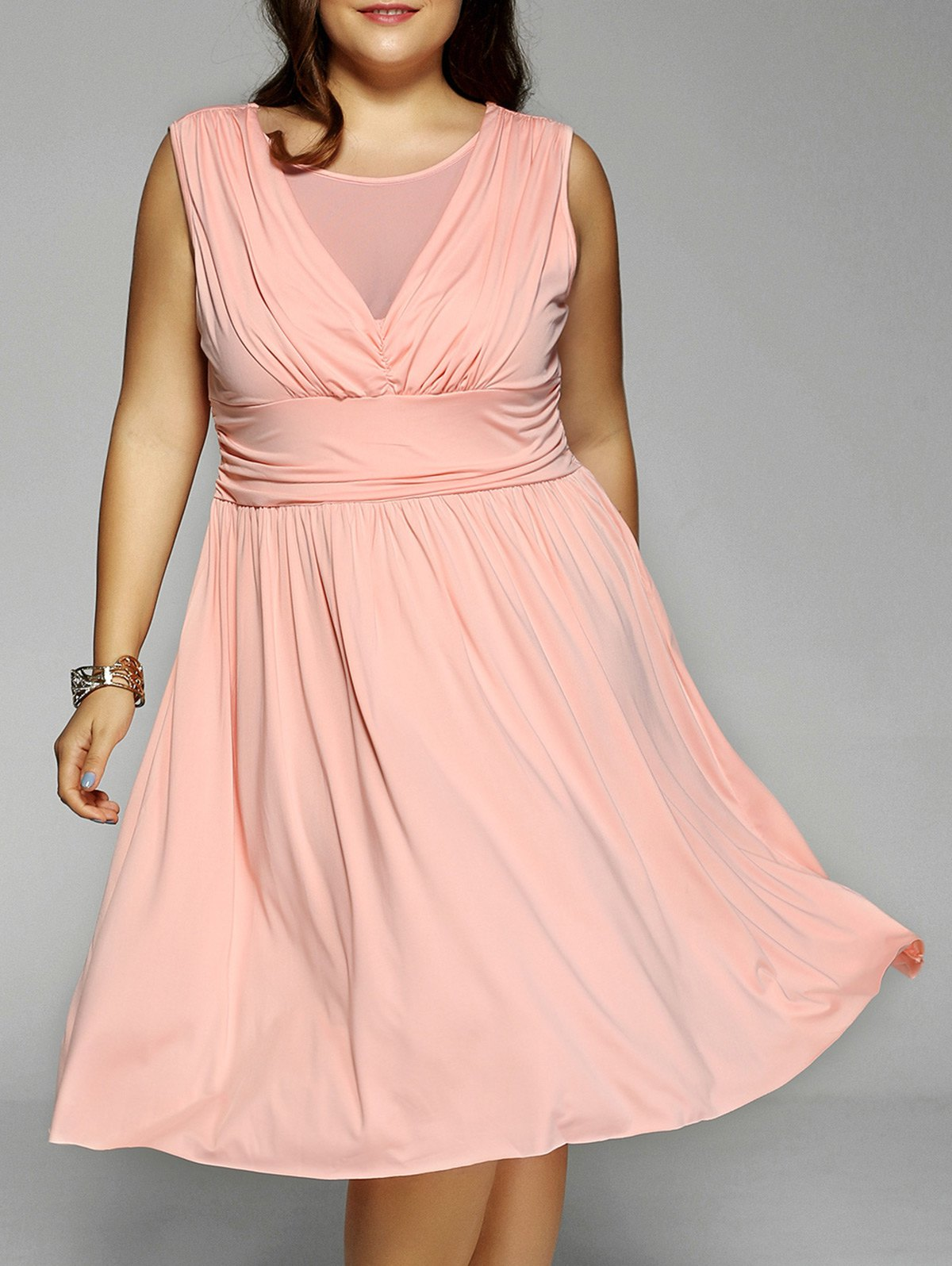 Plus Size Sleeveless Mesh-Insert Ruched Dress - PINK 3XL