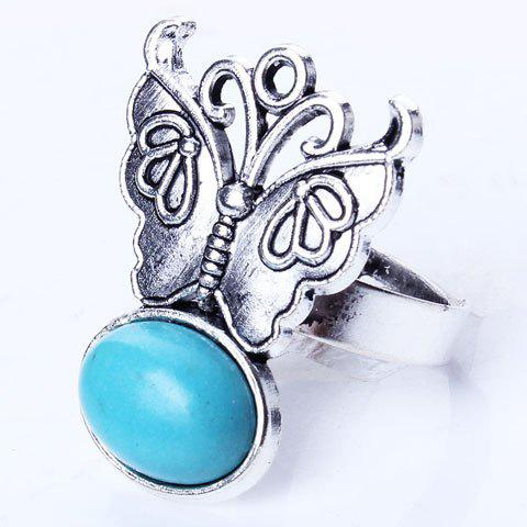 Artificial Oval Turquoise Butterfly Embossed Ring - SILVER