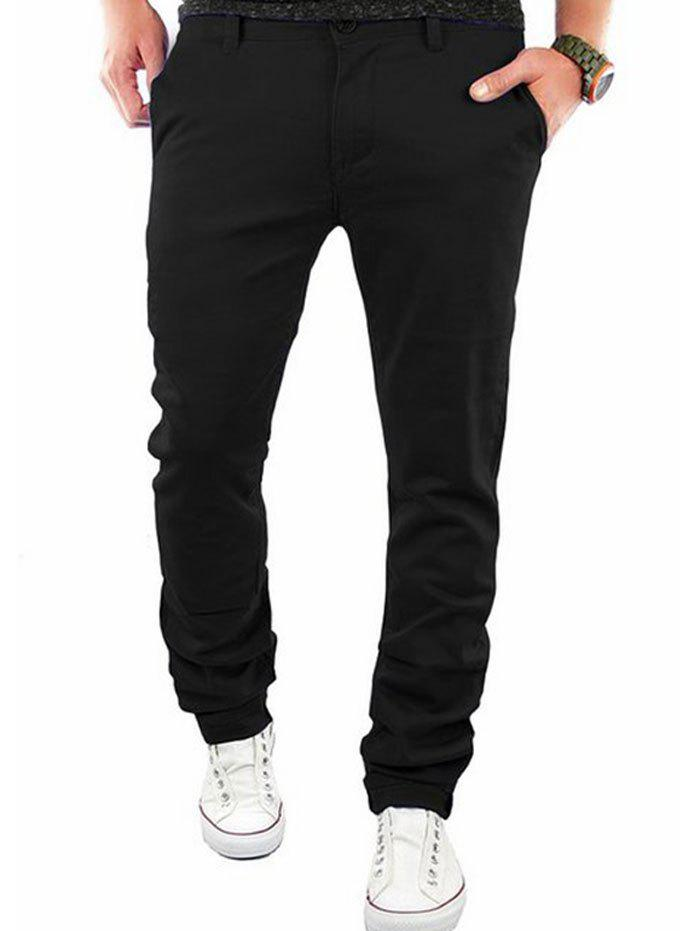 Casual Zipper Flying Straight Leg Pants - BLACK 3XL