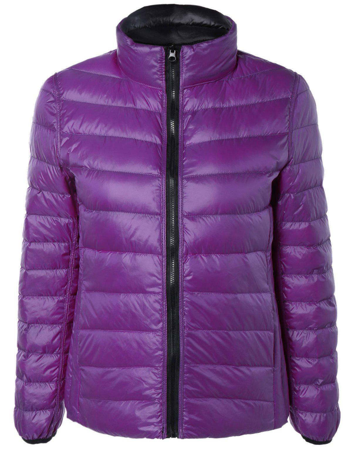 Plus Size Reversible Down Jacket - BLACK/PURPLE XL
