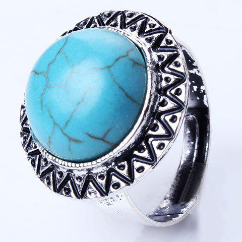 Embossed Round Artificial Turquoise Charm Ring - TURQUOISE