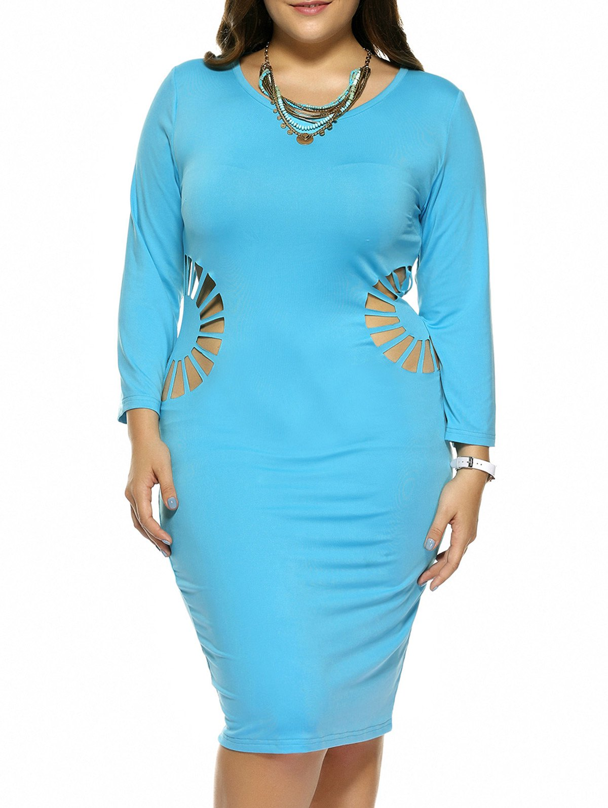 Plus Size Hollow Out Skinny Slimming Dress