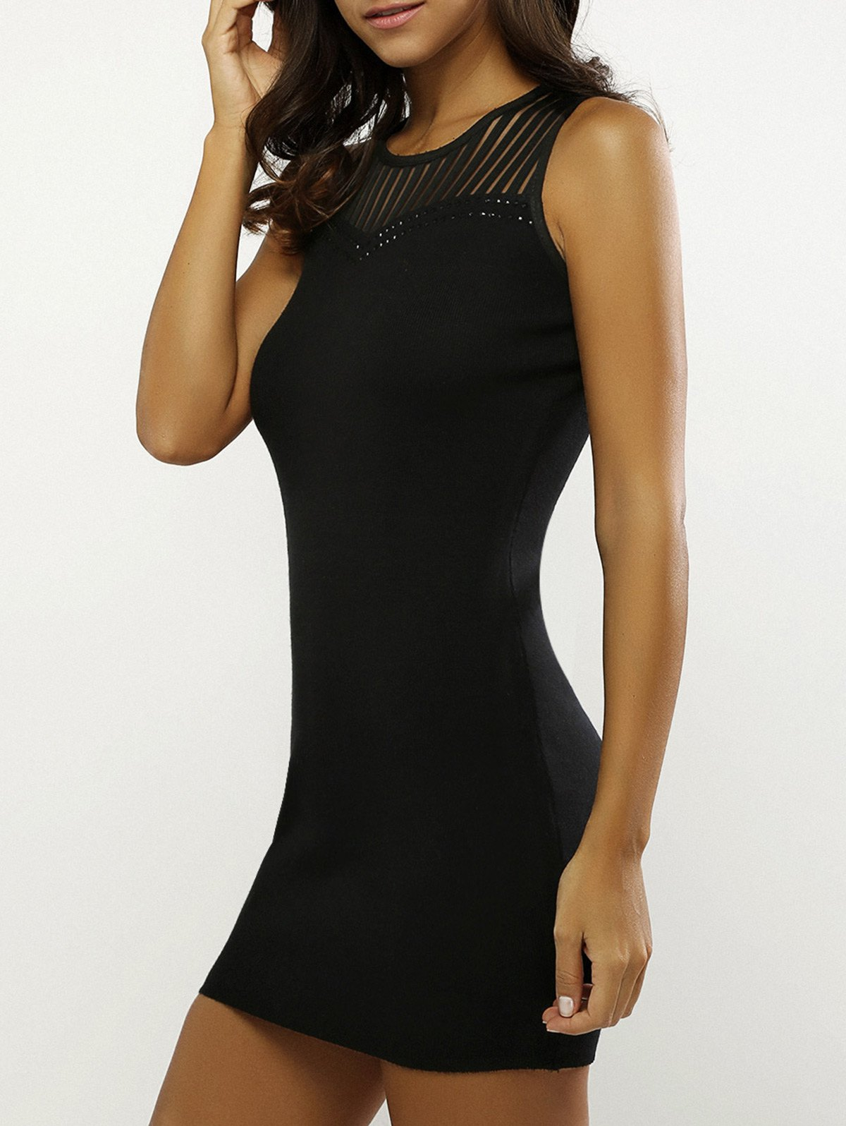 Beading Openwork Bodycon Dress - BLACK ONE SIZE