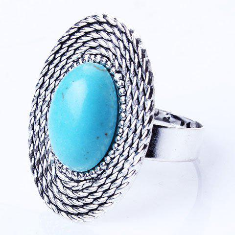 Ethnic Style Knitted Round Faux Turquoise Ring - SILVER