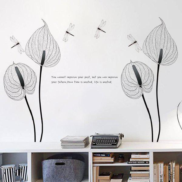 Simple Floral High Quality Removable Decorative Wall Art Sticker -  BLACK/GREY