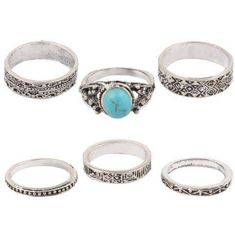 6 Pcs Embossed Faux Turquoise Charm Rings - SILVER