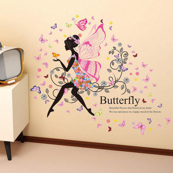 Fairy With Wings Blossom Butterfly Pattern Wall Sticker