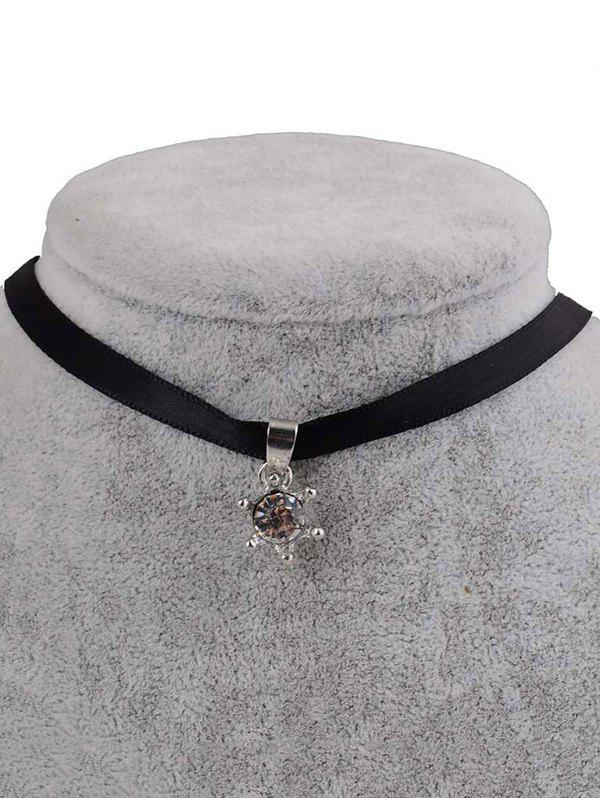 PU Leather Faux Crystal Pendant Choker - BLACK