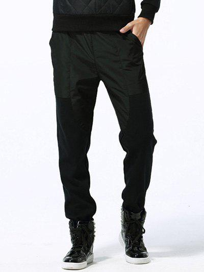 Loose-Fitting Two-Tone Spliced Fleece Lining Pants - BLACK 2XL