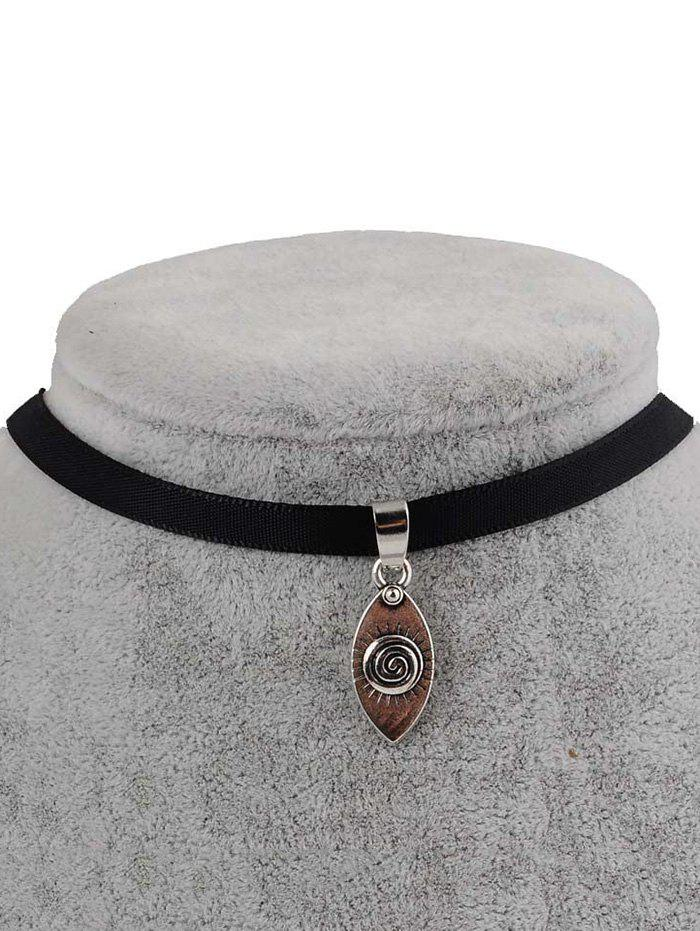 PU Leather Devil Eye Pendant Choker - BLACK