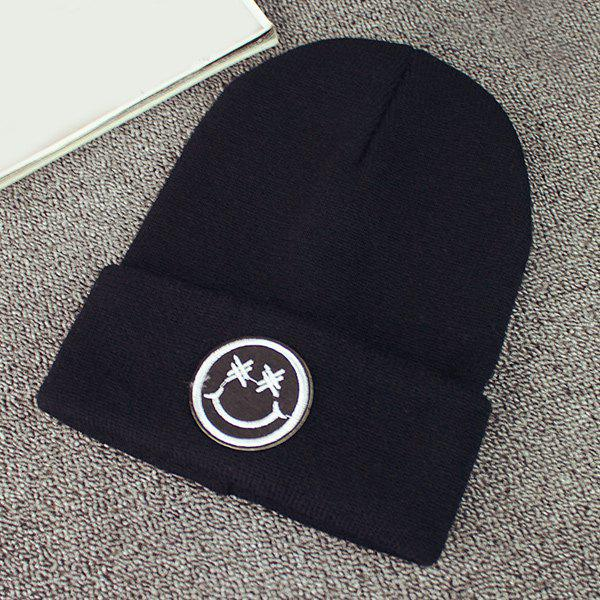 Warm Winter Smile Face Embroidery Label Flanging Knit Beanie - BLACK