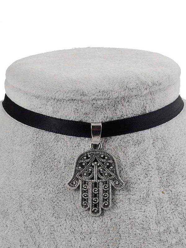 PU Leather Engraved Palm Pendant Choker - BLACK