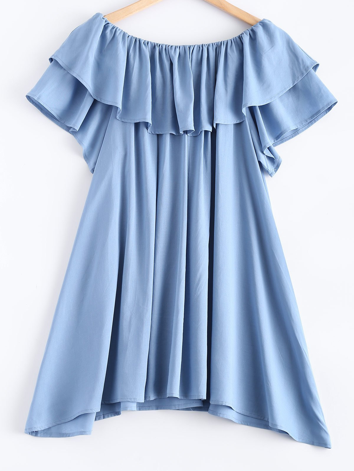 Pure Color Frilled Overlay Asymmetric Dress - BLUE XL